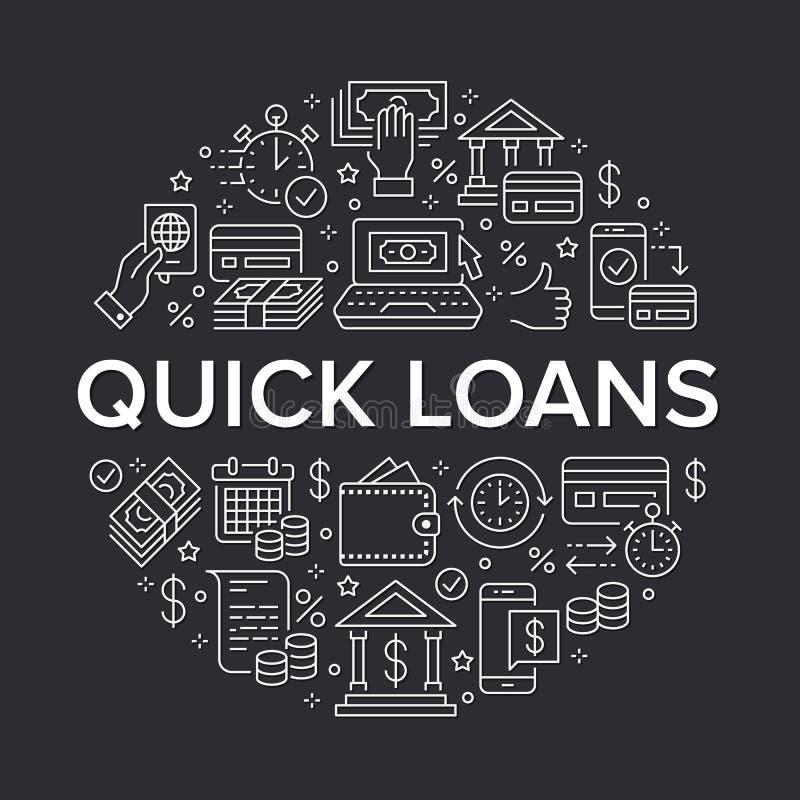 财务,金钱贷款圈子模板平的线象 快的信用批准,货币交易,没有委员会现金