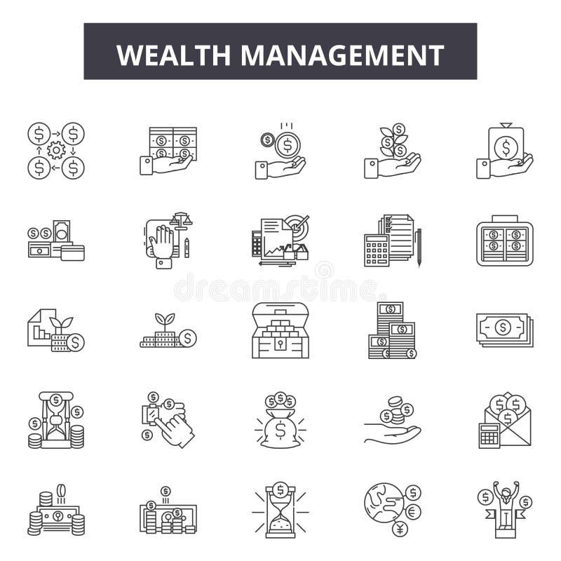 财富管理线象,标志,传染媒介集合,概述例证概念 向量例证