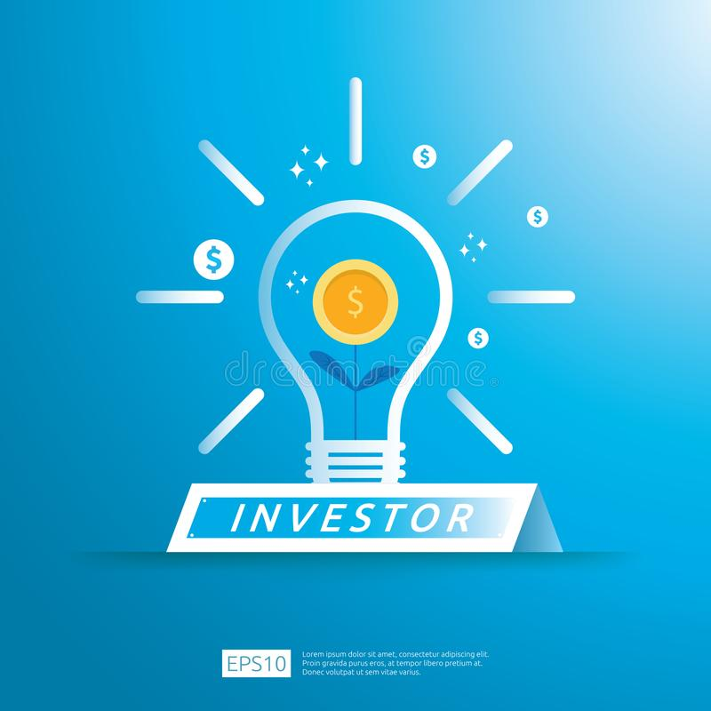 财政企业投资者资助概念与生长金钱想法光例证的硬币植物 ROI的回收投资或 皇族释放例证
