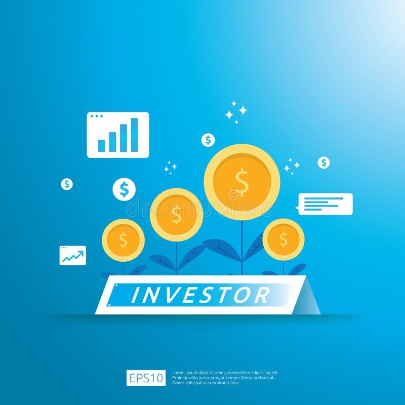财政企业投资者资助概念与生长金钱硬币植物例证 ROI或薪金付款的回收投资 皇族释放例证