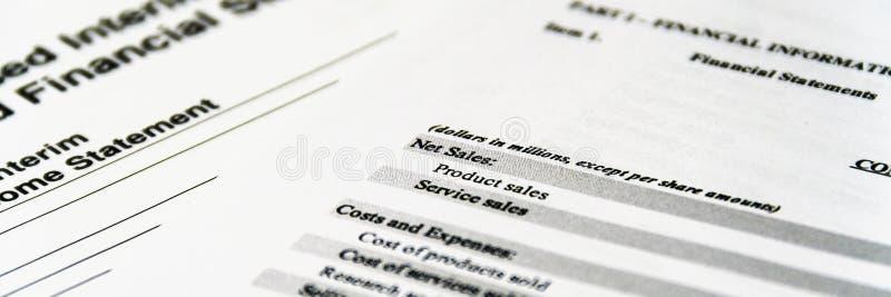财政决算,对股东的经营计划的分析资产负债表  免版税库存照片