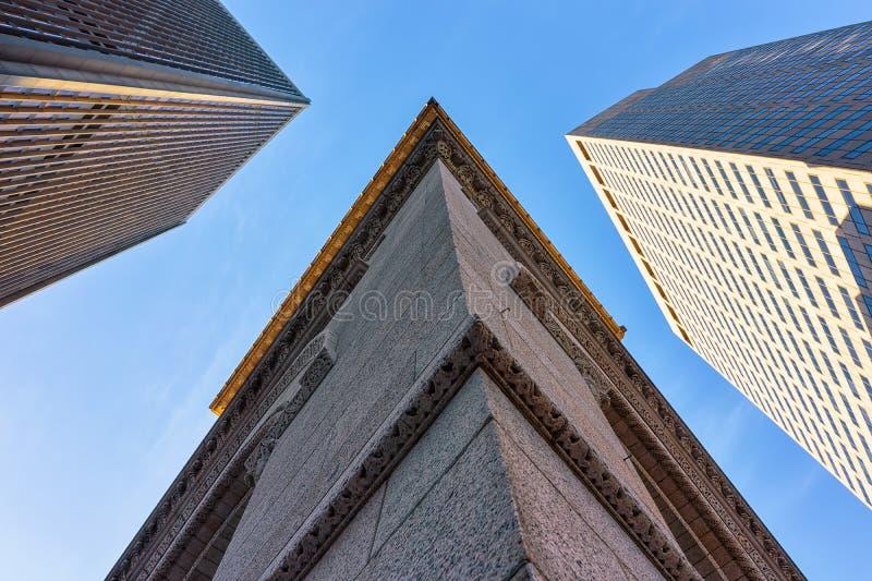 财政区的街市波士顿麻省摩天大楼 库存图片