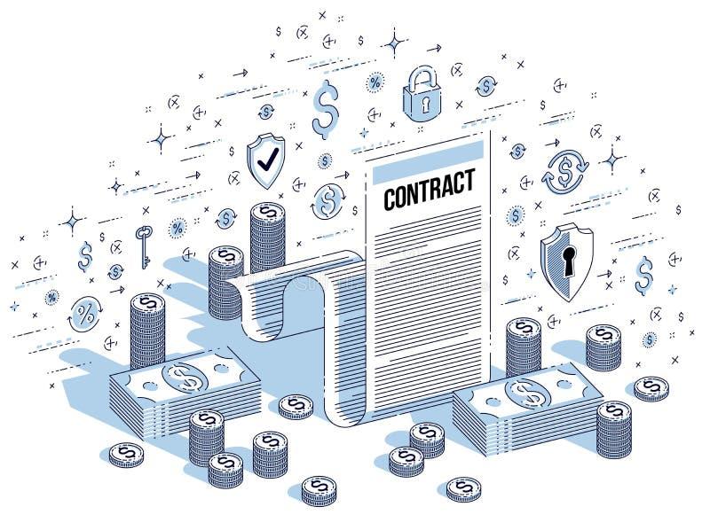 财政合同概念、纸法律文件和现金金钱 向量例证
