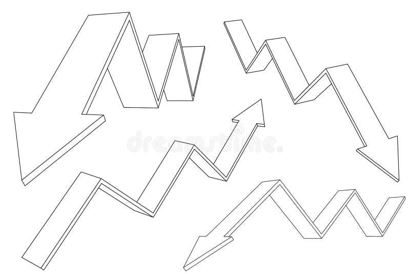 财政在移动的箭头上下 上升的和下跌的趋向 向量例证