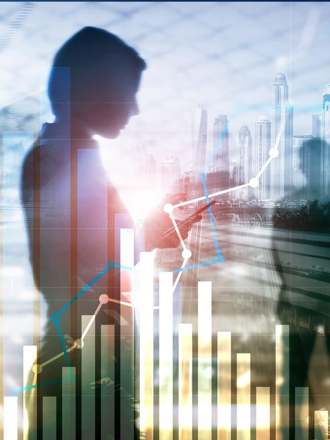 财政成长图表 Â销售增量,销售方针概念 抽象盖子设计垂直格式 库存例证