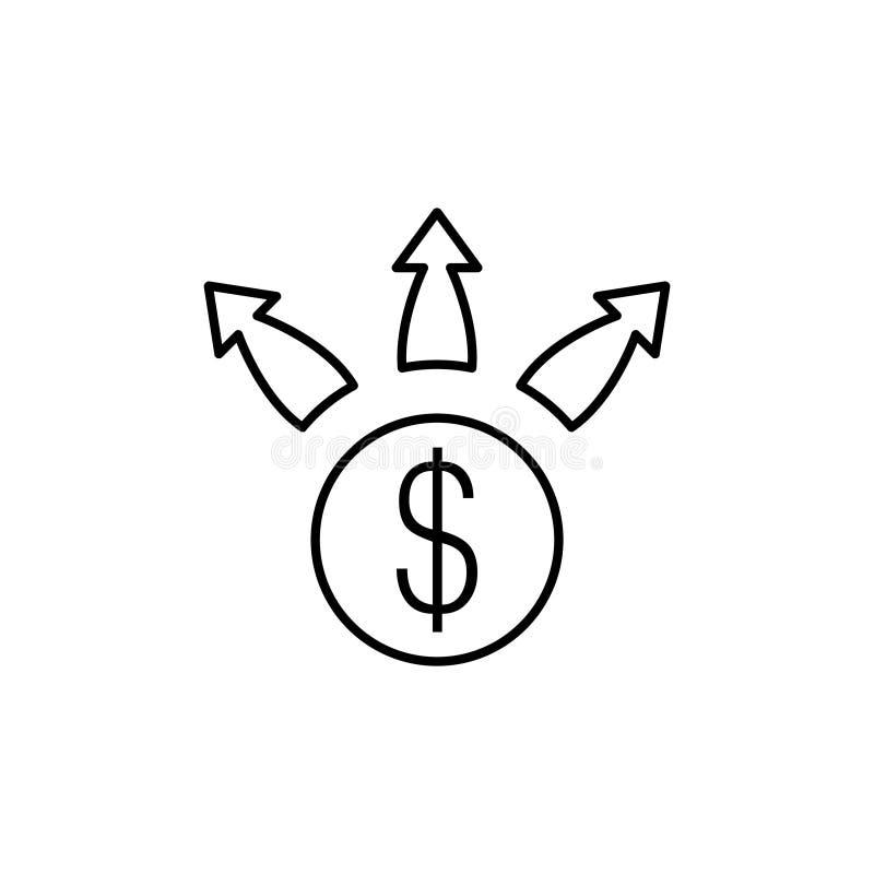 财政成长象,在白色背景隔绝的线性标志-编辑可能的传染媒介 库存例证