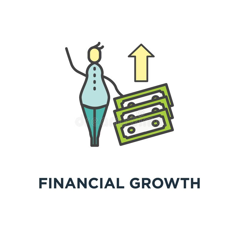 财政成长象 复利、金钱回归或者预算管理,有两的逗人喜爱的动画片人与两堆金钱, 皇族释放例证