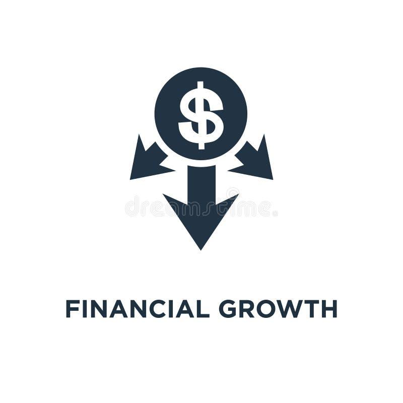 财政成长象 投资策略计划概念标志设计、资金上升的竞选、箭头和硬币,单音传染媒介 库存例证