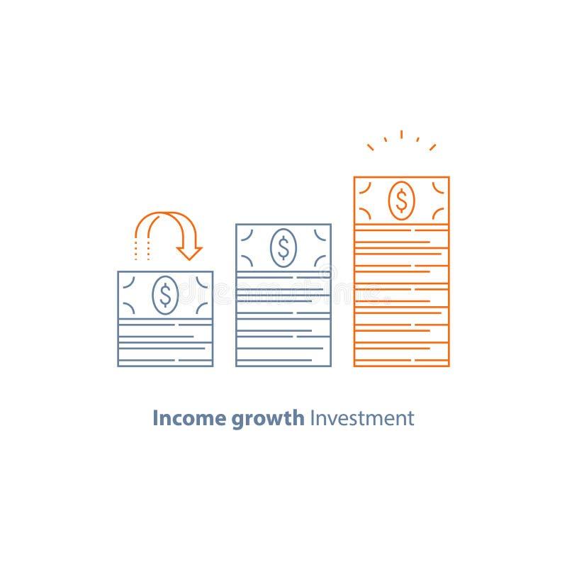 财政战略,收入增量,筹款,长期增加,收支成长,股市的回收投资 库存例证