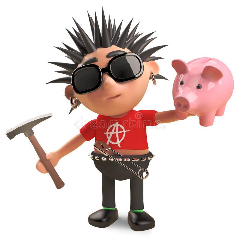 财政挑战庞克音乐的表演者将捣毁他的存钱罐,3d例证 库存例证