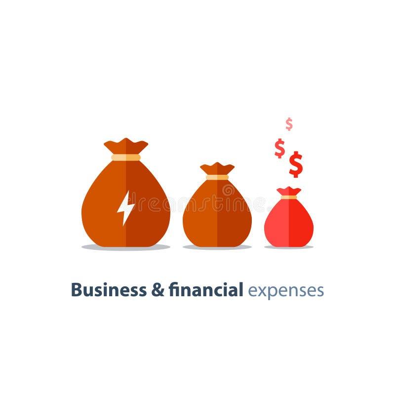财政收缩,企业贬值,预算赤字,公司费用,降下的收入,传染媒介象 库存例证