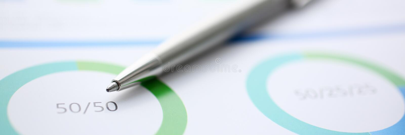 财政统计文件圆珠笔infographics 库存图片
