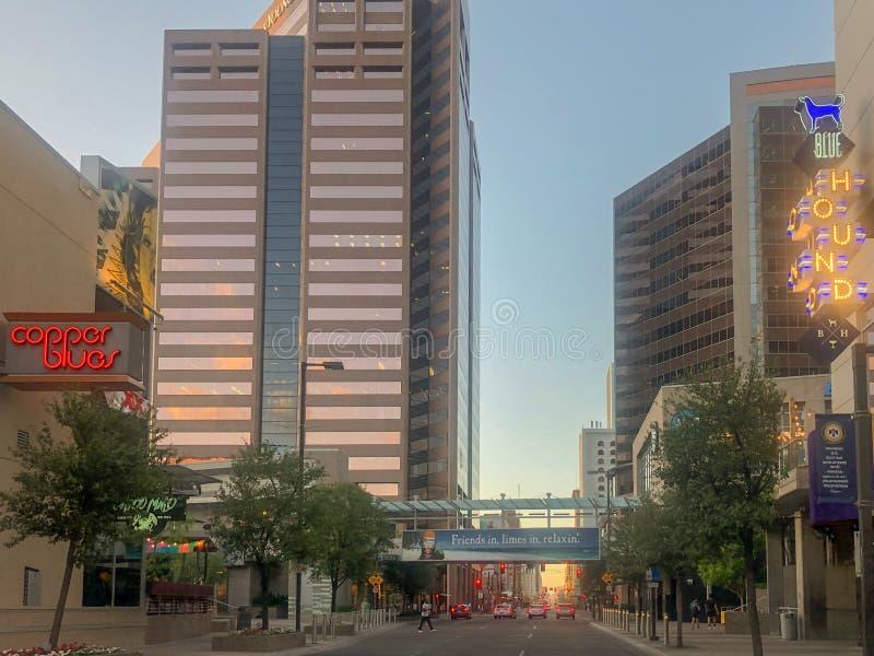 财政街市的菲尼斯和娱乐区域 库存照片