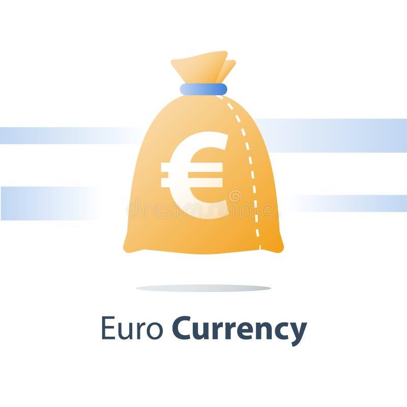财政资金,金钱大袋,欧元货币袋子,快速的贷款,容易的现金 皇族释放例证