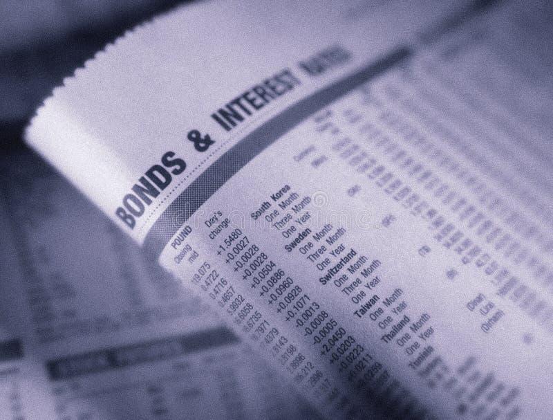 财政页陈列债券和利率 库存图片
