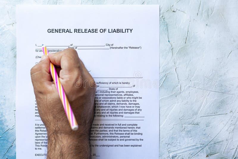 责任形式填装的一般发行  免版税库存照片