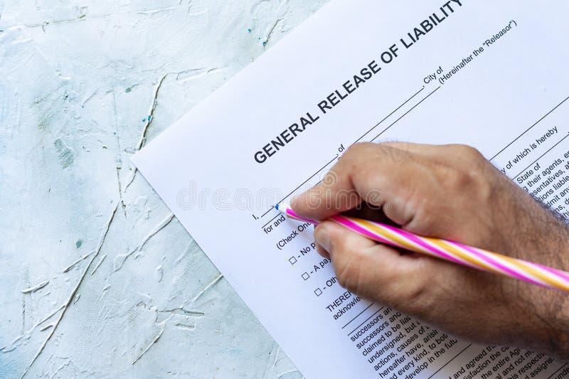 责任形式填装的一般发行  免版税图库摄影