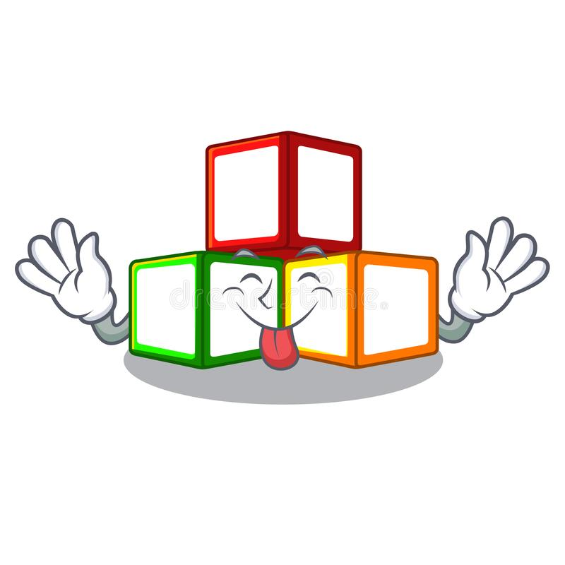 责骂在立方体箱子吉祥人的玩具块 库存例证