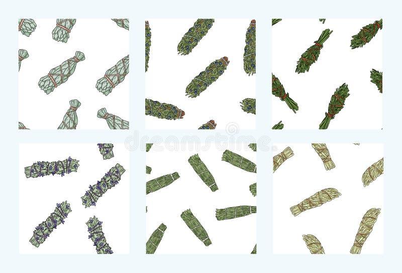 贤哲污点黏附手拉的boho无缝的样式集合 草本包背景瓦片汇集 向量例证