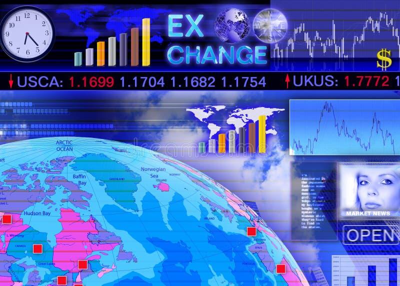 货币兑换外国市场场面 向量例证