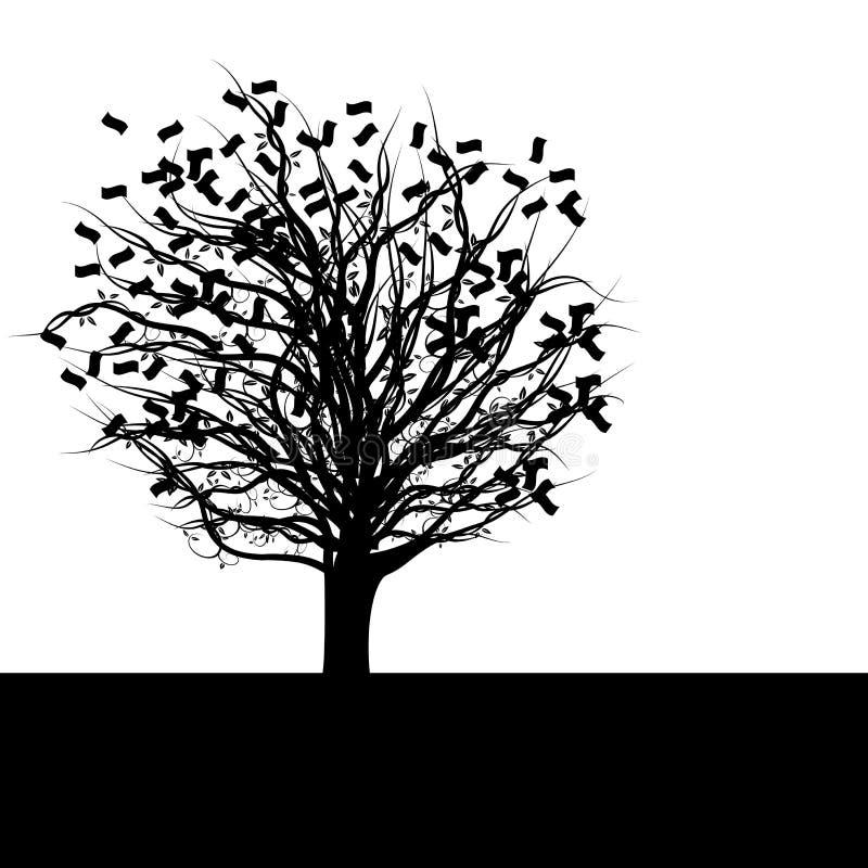 货币剪影结构树 向量例证