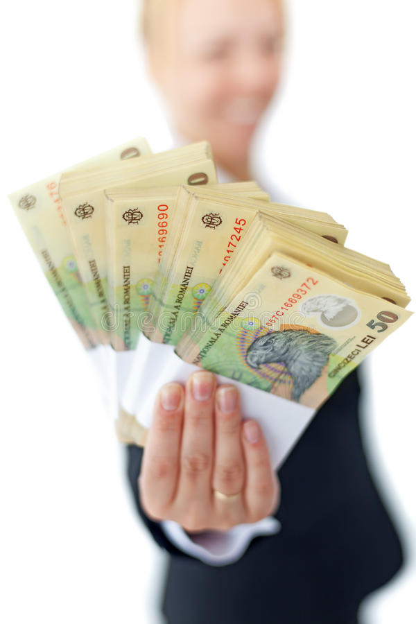 货币存额罗马尼亚语堆积妇女 免版税库存图片
