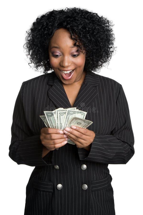 货币惊奇的妇女 免版税库存图片
