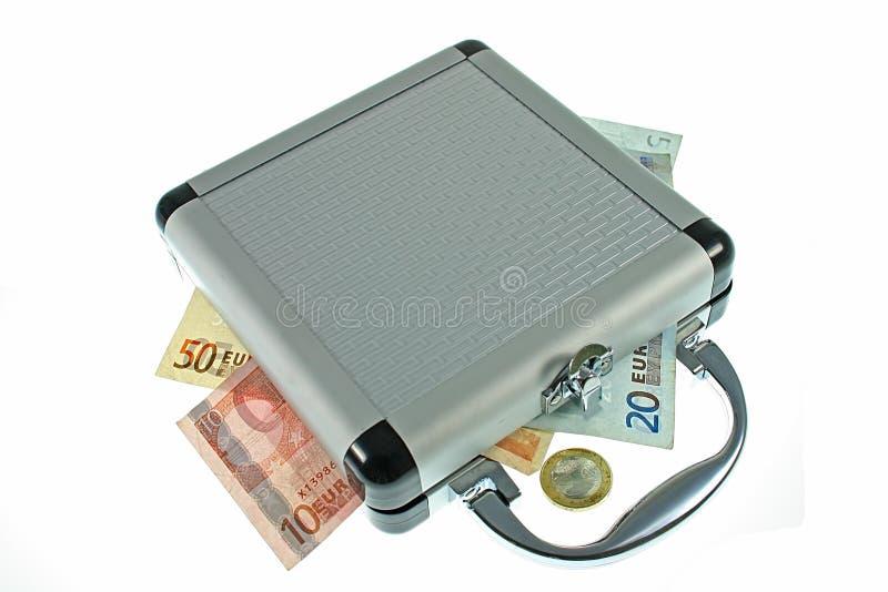 货币手提箱 库存图片