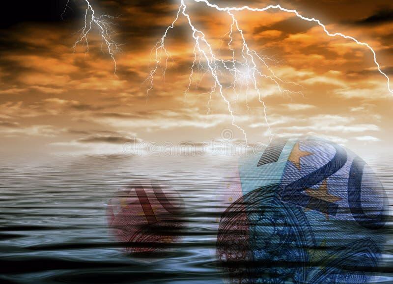 货币欧洲风雨如磐 库存例证