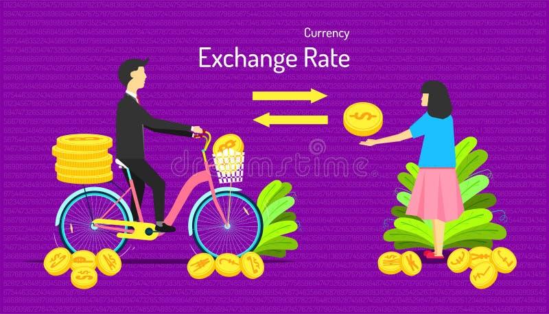货币汇率 调动硬币金钱不同  男性给许多奖牌女性一奖牌 数字背景 图库摄影