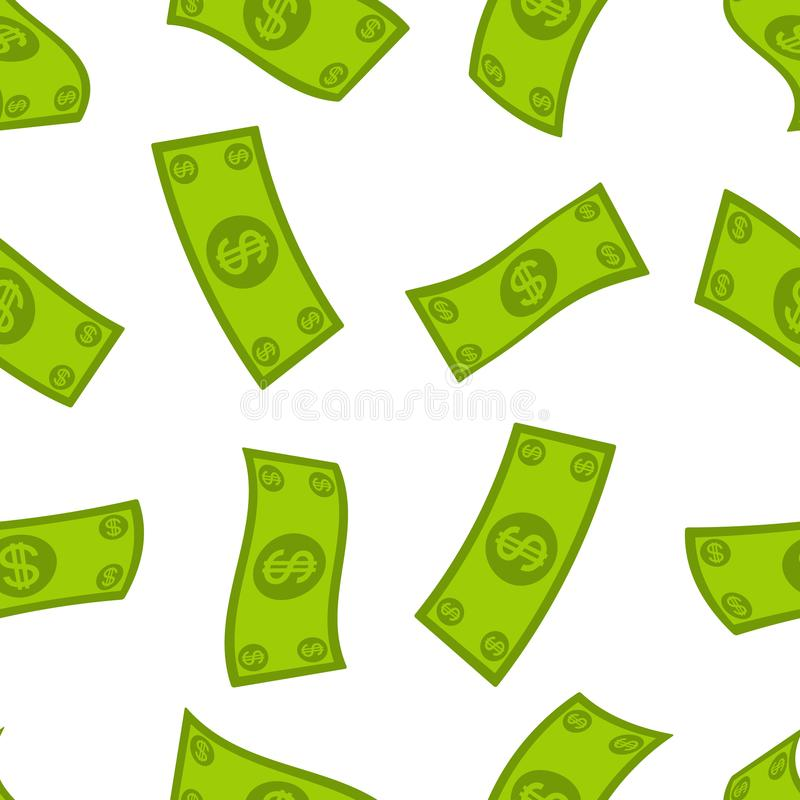 货币流量无缝的样式 落的美元背景 现金飞行雨 向量例证