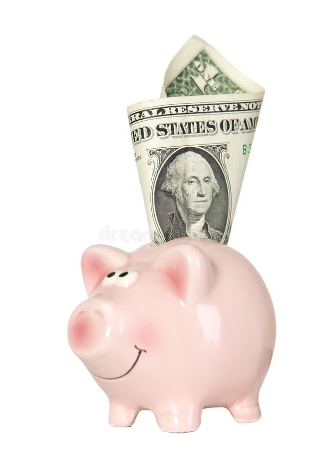 货币猪微笑的突出 图库摄影