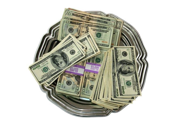 货币盛肉盘顶层 库存照片
