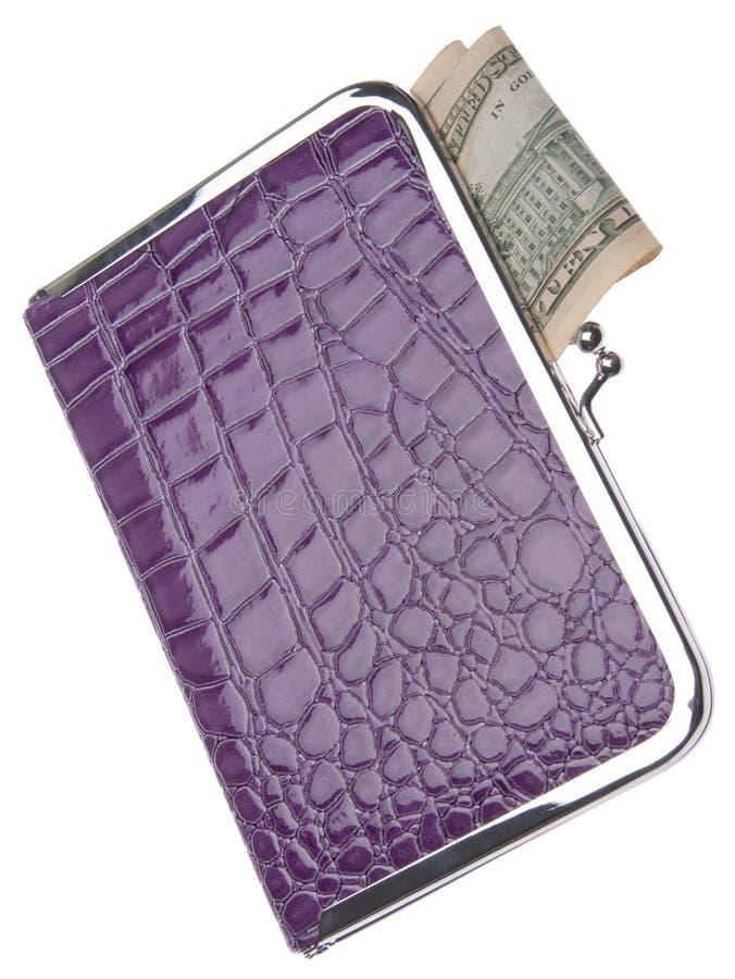 货币紫色钱包 库存照片