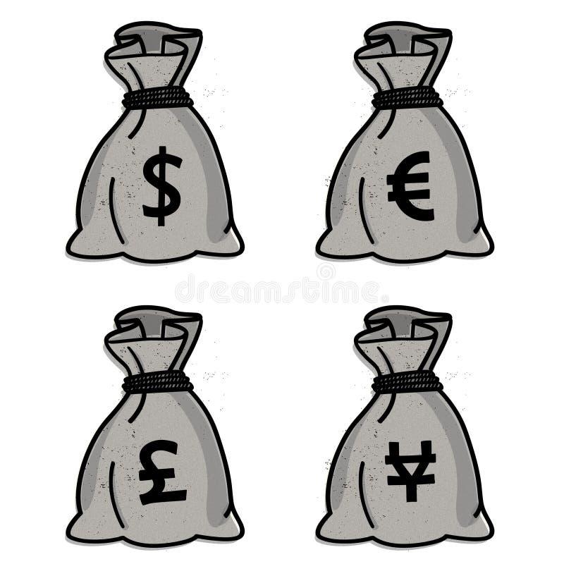 货币袋子 皇族释放例证