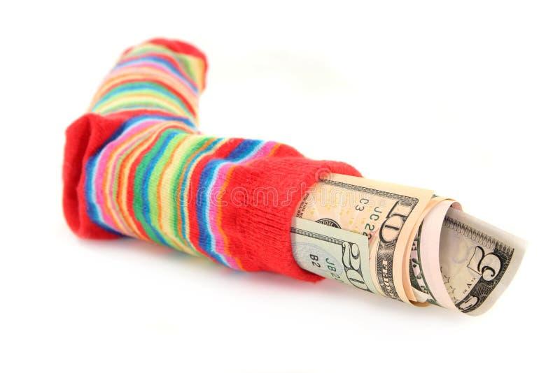 货币袜子 库存照片
