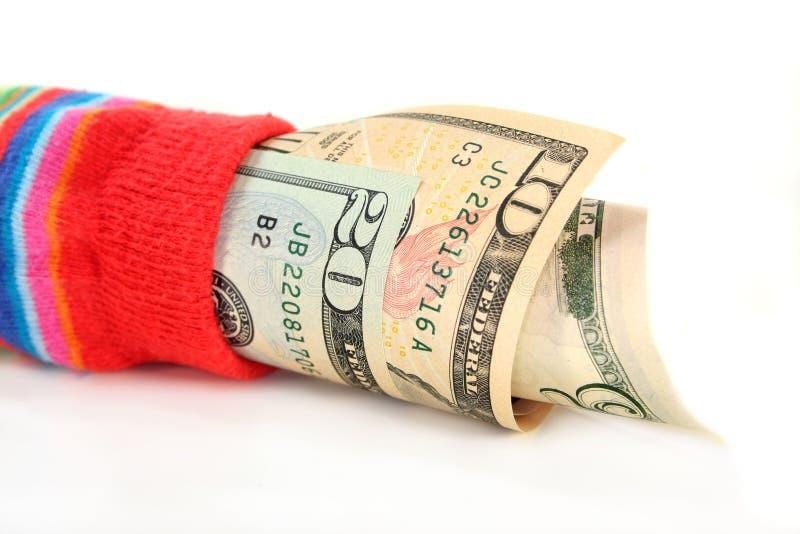 货币袜子 免版税图库摄影