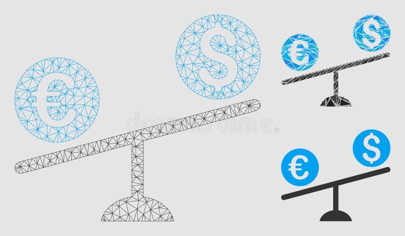 货币贸易摇摆传染媒介网状网络模型和三角马赛克象 向量例证