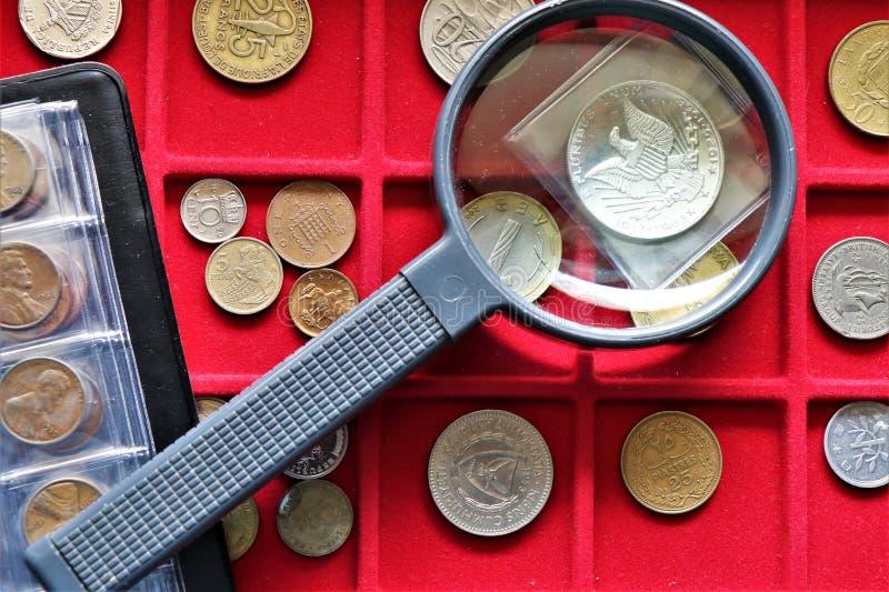 货币,世界在一个红色盘子的硬币收集 免版税库存照片