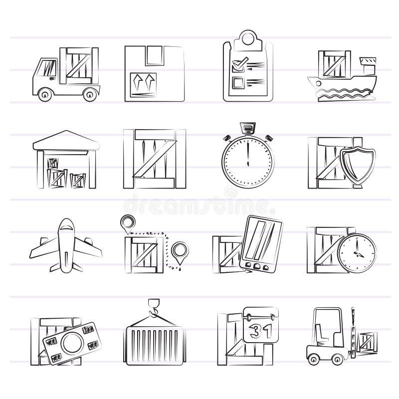 货物、运输、后勤学和交付象 向量例证