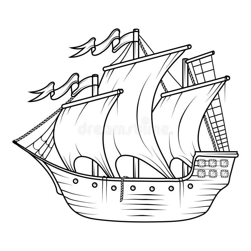货物减速火箭的船 3d横向帆船日落 帆船商标 库存例证