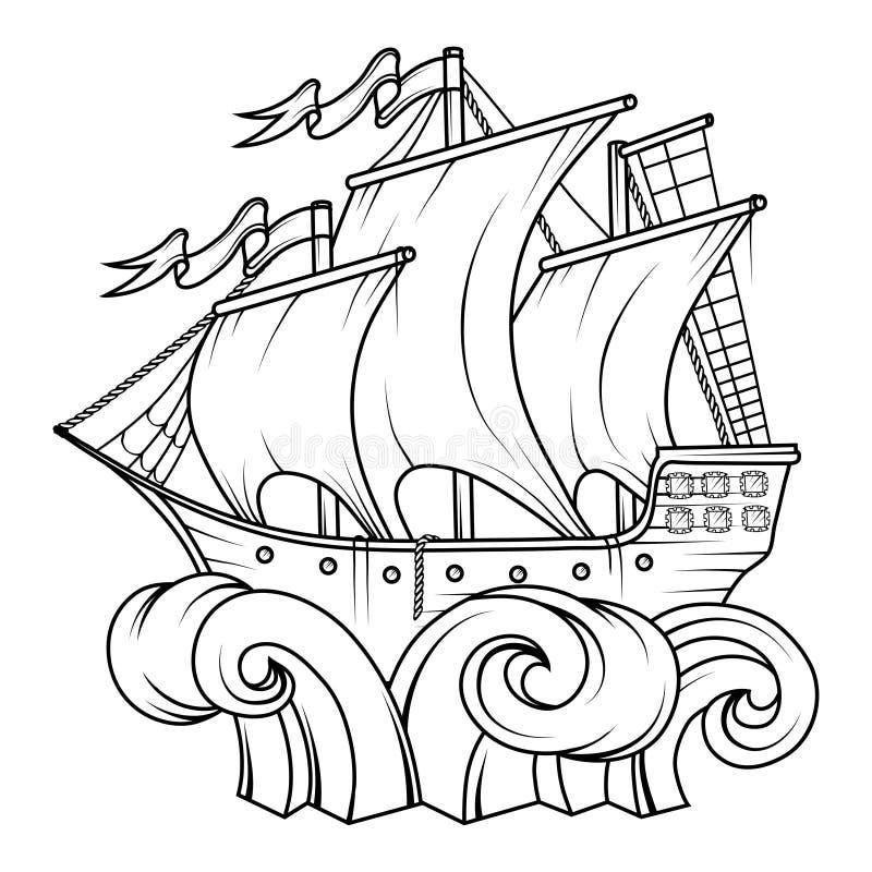 货物减速火箭的船 3d横向帆船日落 帆船商标 向量例证