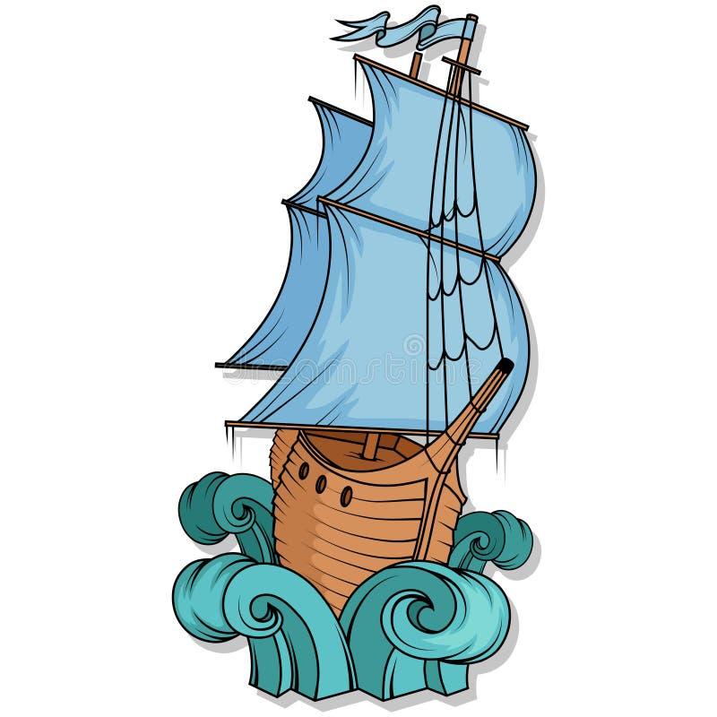 货物减速火箭的船 3d横向帆船日落 帆船商标 皇族释放例证