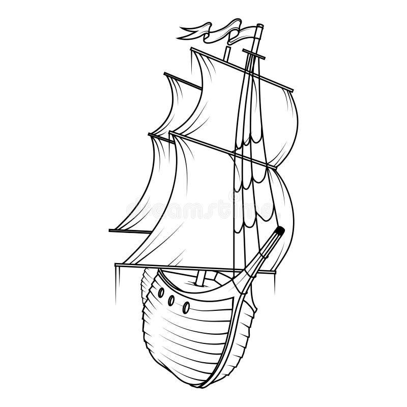 货物减速火箭的船 3d横向帆船日落 库存例证