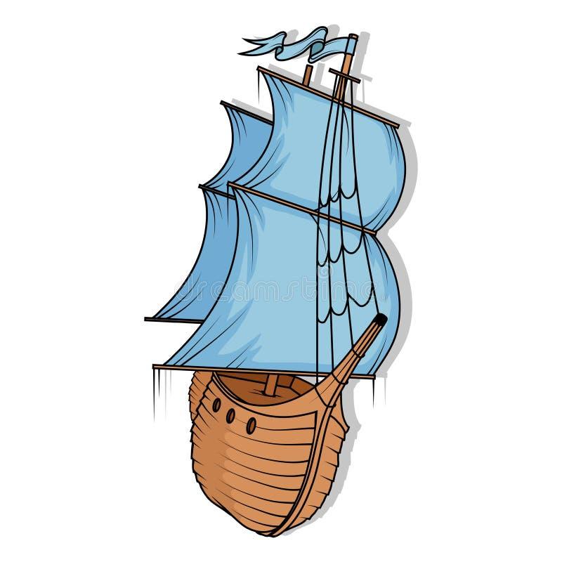 货物减速火箭的船 3d横向帆船日落 皇族释放例证