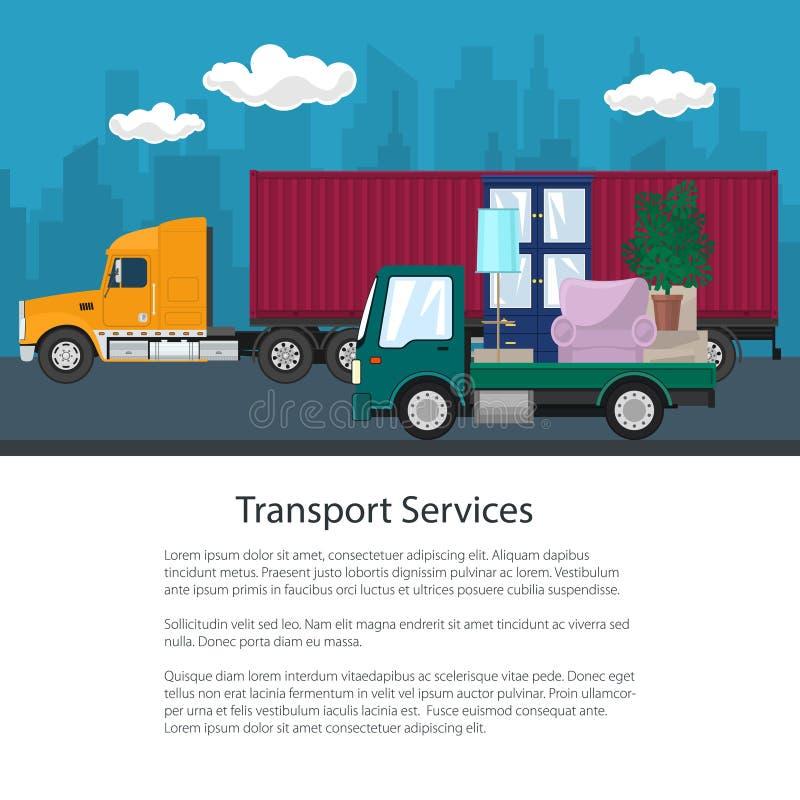 货物卡车和卡车有家具的,小册子 库存例证