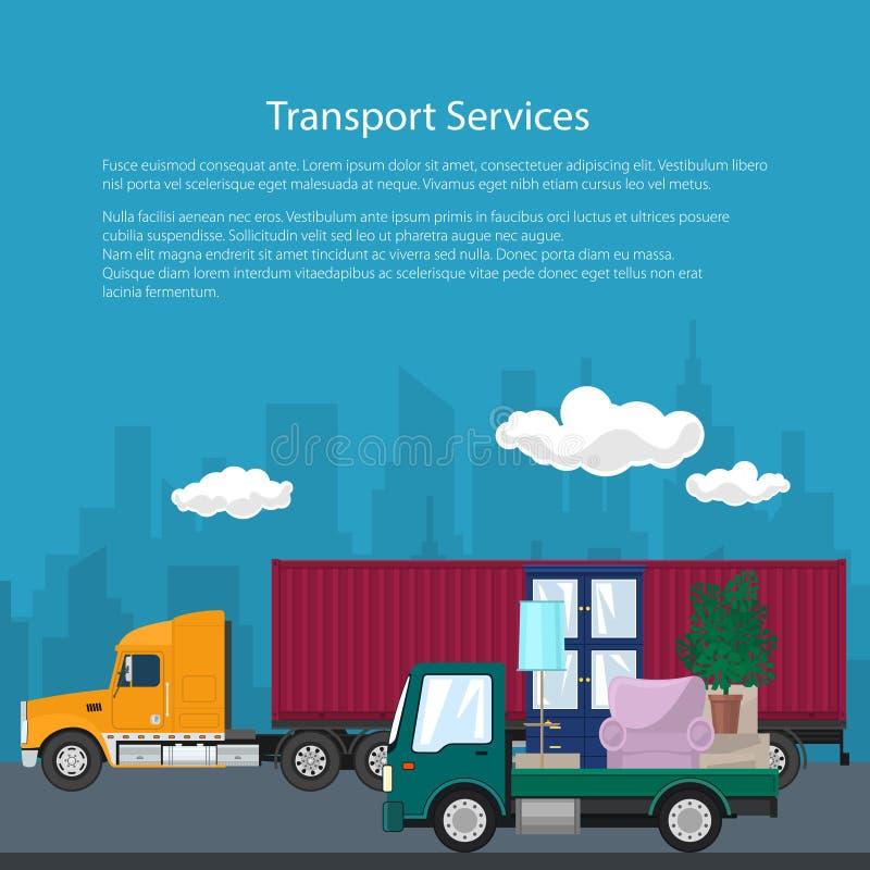 货物卡车和卡车有家具的,海报 向量例证