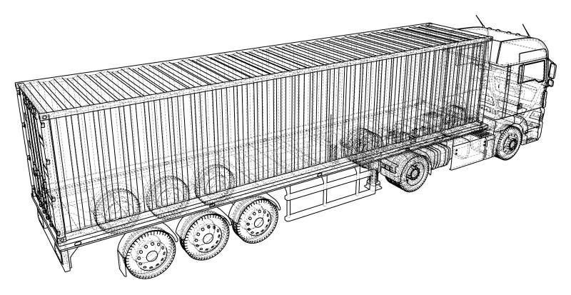 货物卡车拖车 抽象图画 导线框架 EPS10格式 传染媒介被创造3d 皇族释放例证