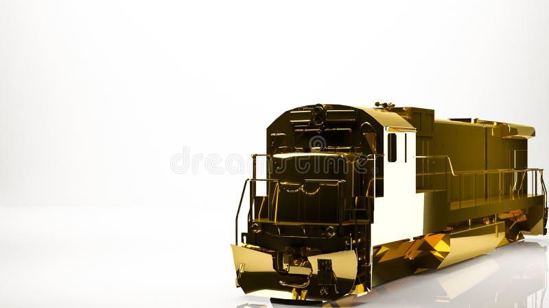货物火车的金黄3d翻译在演播室里面的 库存例证