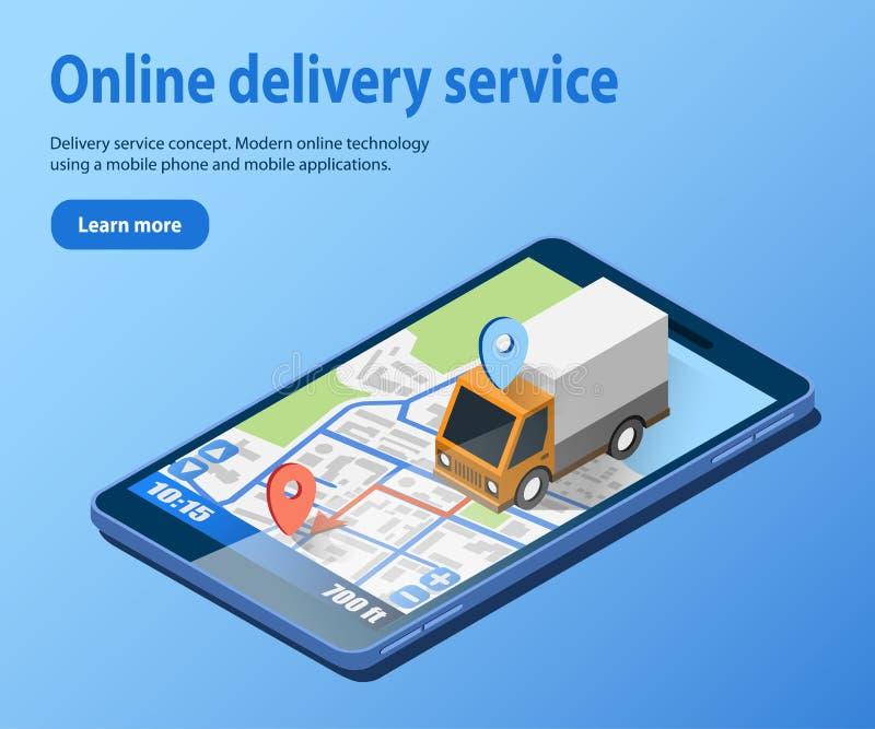 货物的送货服务概念用卡车 库存例证